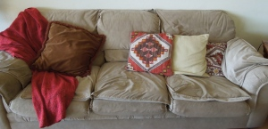 The pillows are meant to distract you from the deflated appearance of the sofa itself.