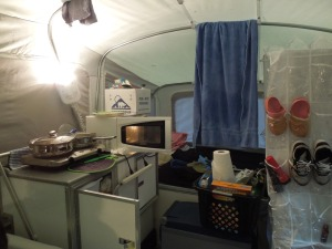 The camper kitchen mid-use, still working on my organization skills.