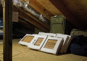 Storage baskets airing out in the attic.