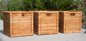 Storage baskets getting the final sun baking on my deck.