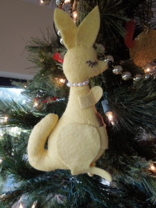 Why a Christmas Kangaroo? Because it's an annual ornament my childhood which makes it very safe to be on my tree!