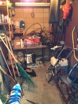 Tool shed half filled with previous owner's scary stuff.