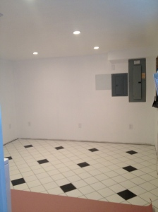 Walls, tiles, outlets,