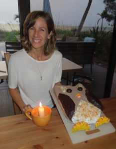 An allergy safe owl cake that my kids help me make on a recent birthday.  It obviously made me giddy.