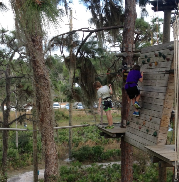 My son tilting at a ropes course while I was at home tilting and TILTed.  It will all be explained.