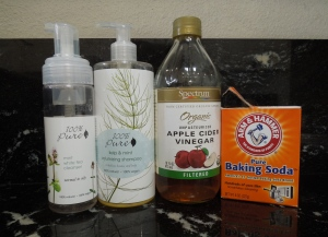 My bathroom needs are currently met by a new line up of products.  I am really enjoying 100% Pure shampoos and cleansers.  I don't use them often but they are gentle enough to not require lotion or conditioner afterwards, plus their ingredients all seem edible.  For every day hair and skin cleansing I use diluted baking soda and diluted Apple Cidar Viengar, saving the bottled products for a once a week occasion or a post yard work necessity.