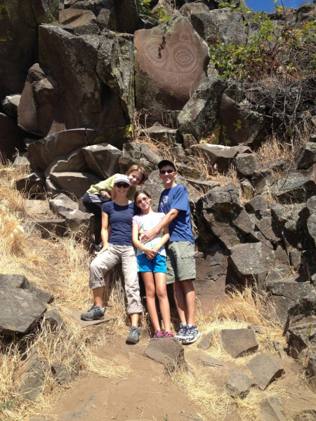 Pictograph and family at Horse Thief Lake in Colombia Hills State Park.