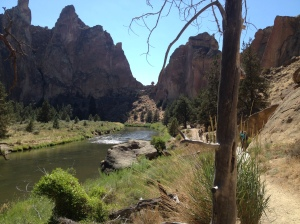 Rocks for scrambling over in Smith Rock State Park.